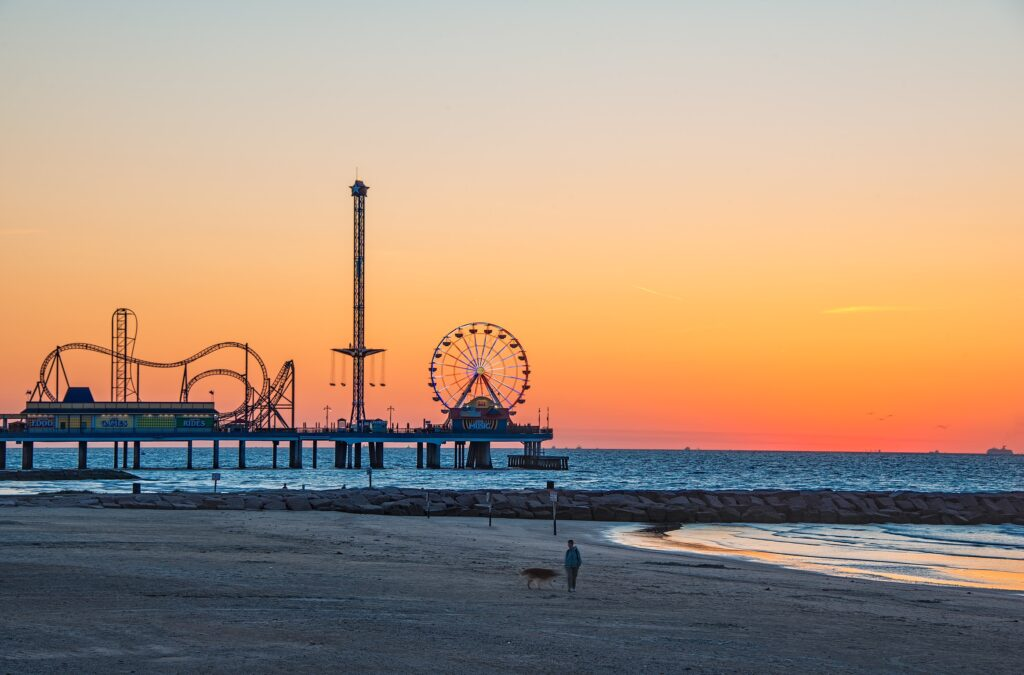 Galveston sunrise on beach